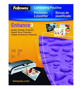Fellowes Enhance 3 Mil Letter Glossy Laminator Pouches, 100 Pack