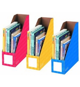 Fellowes 3-Pack Magazine File Holders, 4 by 11 by 12-1/4-Inch, Red/Blue and Yellow