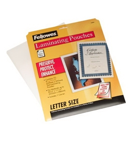 Fellowes 3mm Letter Laminating Pouches, 25 Pack (52005)