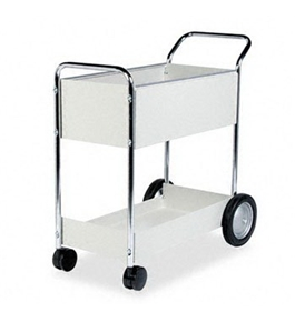 Fellowes 40922 - Steel Mail Cart, 150-Folder Capacity, 20w x 38-1/2d x 39h, Dove Gray-FEL40922