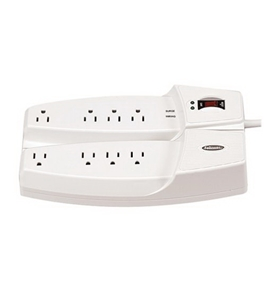 Fellowes 8 Outlet Split Surge Protector with Phone Protection (99070)