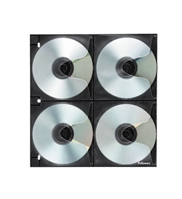 Fellowes 95321 CD/DVD Binder Sheets Hold 8 CDs/DVDs Each, 25/Pack