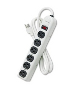 Fellowes 99027 Six-Outlet Power Strip, 120V, 6-Foot Cord, Platinum