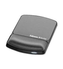 Fellowes Gel Wrist Rest & Mouse Pad with Microban, Black (9175101)