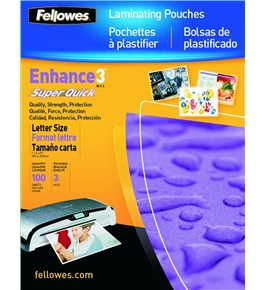 Fellowes Glossy SuperQuick Laminating Pouches, Letter Size, 100 Per Pack (5245801)