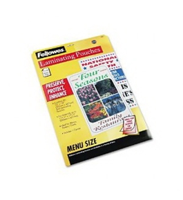 Fellowes Hot Laminating Pouches, Menu Size, 3 mil, 25 Pack (52011)