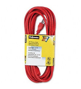 Fellowes Indoor/Outdoor Heavy-Duty 3-Prong Plug Extension Cord, 1 Outlet, 25-ft., Orange