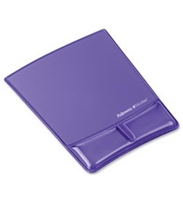 Fellowes Microban? Purple Gel Mousepad with Built-in Wrist Support
