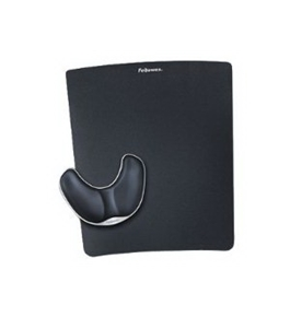 FELLOWES INC MOUSE PAD W/ WRIST PILLOW PLASTIC POLYURETHANE BLACK Unique Slider Points