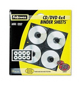 Fellowes Polypropylene CD/DVD Protector Sheets for Three-Ring Binders HOLDER, CD PAGES, 25/PK
