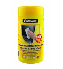 Fellowes Pre-Moistened Screen Cleaning Wipes, 100 per Tub (99703)