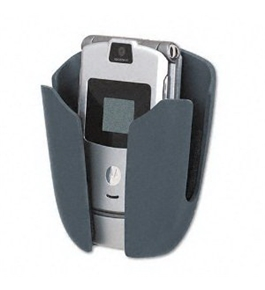 Fellowes Products - Fellowes - Partition Additions Phone/MP3 Holster, Dark Graphite - Sold As 1 Each - Unique open-front design. - Plush interior padding. - Cord management cutouts. - Patented steel points for secure vertical organization. -