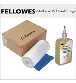 Fellowes Shredders Accessories Bundle - 36053 20-Gallon 100 Pack Bags + 35250 12oz. Oil