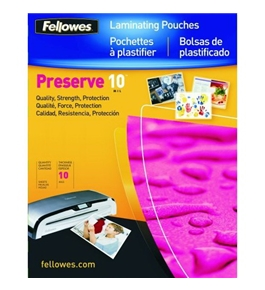 Fellowes Preserve 10 Mil Letter Glossy Laminator Pouches, 100 Pack