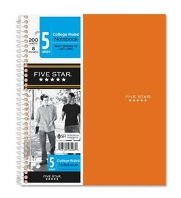 Five Star Wirebound 5-Subject 8-Pocket Notebook, College Ruled, 11x8-1/2, 200 Sheets (6208)