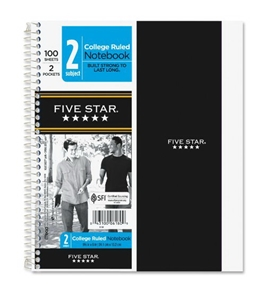 Five Star Wirebound Notebook, College Rule, 6 x 9-1/2, White, 100 Sheets/Pad (6180)