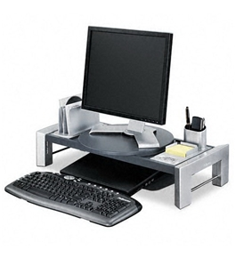 Flat Panel Workstation Shelf, 11 1/2 x 25 7/8 x 9 1/4, Gray Laminate Top
