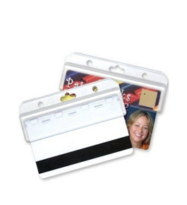 GBC BadgeMates Half Card Holder, Clear, 25 Holders per Pack (3748072)