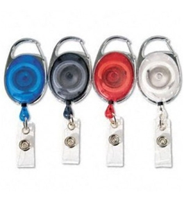 GBC BadgeMates Translucent Carabiner Badge Reels, 4 Reels, 1 Each in Red, Clear, Black, and Blue (3747498)