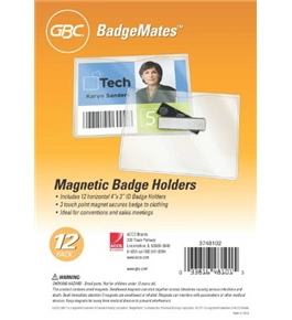 GBC Magnetic Badge Holders, 3 Touch Point Magnet, For Horizontal 4 x 3-Inch Inserts, Clear, 12 Pack (3748102)