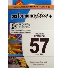 Genuine SCRP QuikShip Remanufactured HP 57 C6657AN High Yield Tricolor for printers Officejet 4110 and 4215 in pictured retail box.