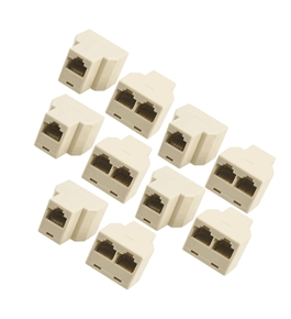 Gino 10 Pcs 3 Way RJ45 LAN Network Ethernet Splitter Connector Beige