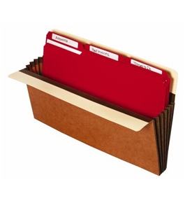 Globe-Weis Heavy Duty File Pocket, Extra Wide, Legal Size, 5 1/4 Inch Expansion, Brown, (C1537GHD)