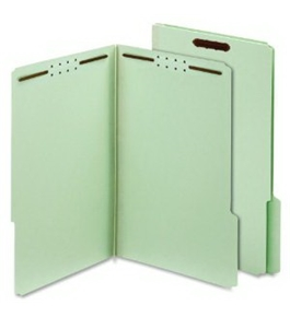 Globe-Weis Pressboard Folders with Fasteners, 1-Inch Expansion, 2-Inch Fasteners, 1/3 Cut Tabs, Legal Size, Green, 25-Count (29931)