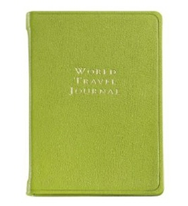 Graphic Image World Travel Journal, Goatskin Leather, Lime (TJIMRBLGTILIM)