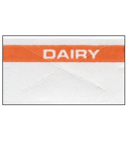 Garvey Preprinted GX2212 White/Orange Dairy Labels for a 22-6, 22-7 and 22-8 Labeler