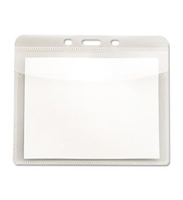 "PVC-Free Badge Holders, Horizontal, 4"" x 3"", Clear, 50/Pack"