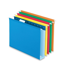 Pendaflex 4152X2ASST Extra Capacity, Letter-Size Hanging Folders with Box Bottoms, Assorted Colors, 25 per box