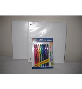 Simply 1 in Po Binder Reliure 200 Sheets (2 Pack) With Free Staedtler Ballpoint Pen,1.6mm Tip,RubberBarrel,8/PK,Assorted Bright