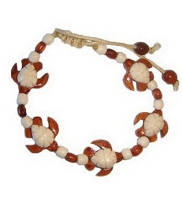 Hawaiian Sea Turtle Honu Koa Wood and Bone Bracelet