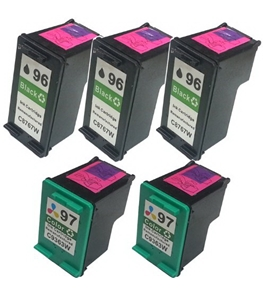 HI-VISION HI-YIELDS Remanufactured Ink Cartridge Replacement for HP 96 97 (3 Black, 2 Color, 5-Pack)