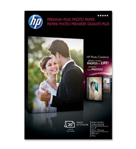 HP Premium Plus Photo Paper, High Gloss (20 Sheets, 4 x 6 Inches with Tab)