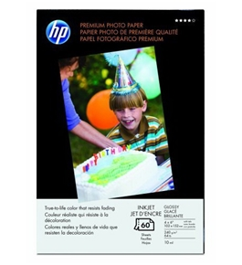 HP Q1989A Premium Glossy Photo Paper, 60 Sheets