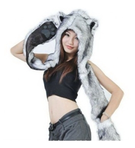 HUSKY Full Animal Hoodie Hat 3-in-1 Function Faux FUR