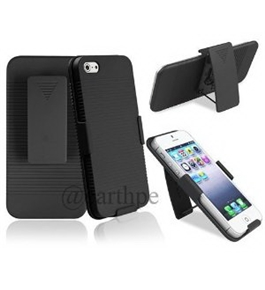 Iphone 5 Shell + Holster Belt Clip Combo Case for iPhone 5 (Blue)