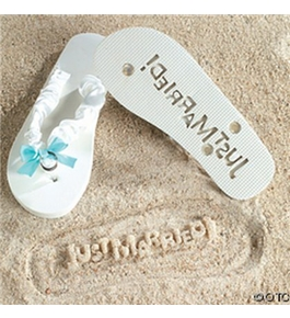 Just Married Flip Flops Stamp Your Message in the Sand! (5/6)