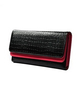 KLOUD ® Black synthetic leather stone pattern double layer women wallet