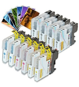 LD © Brother Compatible LC65 Bulk Set of 10 High Yield Ink Cartridges: 4 Black & 2 each of Cyan / Magenta / Yellow + Free 4x6 Photo Paper