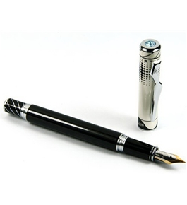 Luxury Blue Crystal Cap, Silver Carved Ring Black Fountain Pen Nib M 18kgp with Push in Style Ink Conv