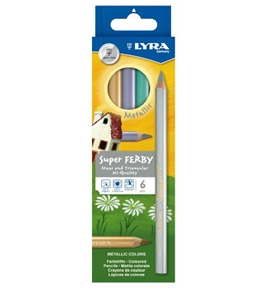 LYRA Super Ferby Lacquered Triangular Giant Colored Pencils, 6.25 Millimeter Lead Core, Set of 6 Pencils, Assorted Colors (3721060)