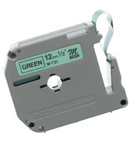 Brother M731 Tape Cartridge 0.5 Inch Wide, Non-Laminated Black on Green