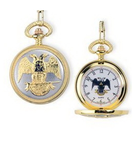 Masonic Gold Plated Double Eagle Scotish Rite Freemason Pocket Watch