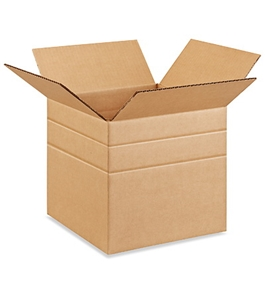 "10"" x 10"" x 10"" Multi-Depth Corrugated Boxes (Bundle of 25)"