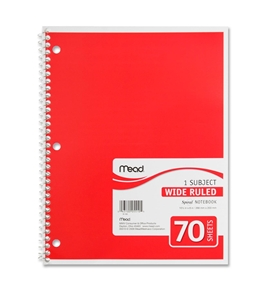 Mead 05510 Spiral Bound Notebook, Wide Rule, 8 x 10.5, White, 1 Subject 70 Sheets