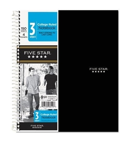 FiveStar 6210 Wirebound Notebook, College Rule, 3 Subject 150 Sheets