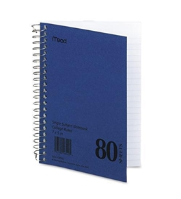 Mead 06542 Spiral Bound 1 Subject Notebook, College Rule, 5 x 7, White, 80 Sheets